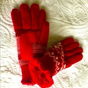 Red winter gloves snow flake red faux fur insole